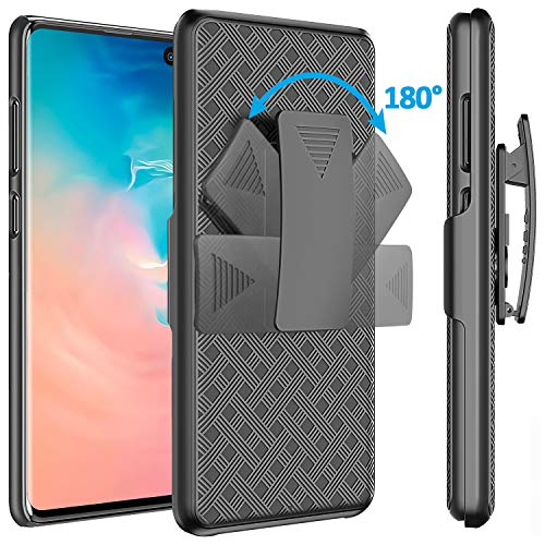 for Galaxy S10 Plus Case Holster, Comsoon [Heavy Duty Protection][Belt Clip][Kickstand] 2 in 1 Slim Hard Shell Cover with 180 Degree Swivel Belt Clip Holster for Samsung Galaxy S10 Plus (Black)