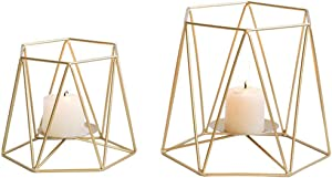 Nuptio 2 Pcs Large Gold Metal Pillar Candle Holders, Geometric Elegant Tealight Holders, Centerpieces for Wedding, Home Coffee Tables Decor, Ceremony and Anniversary (S + L)