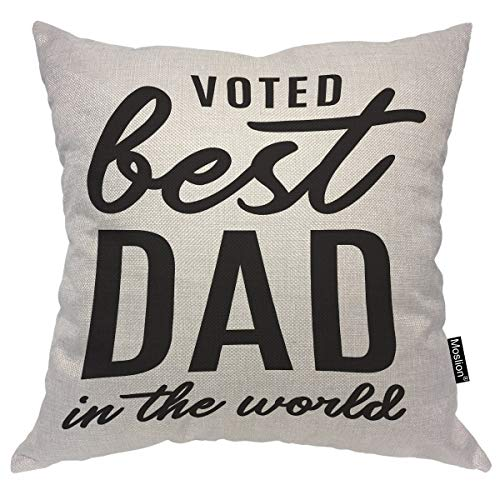Moslion Happy Father's Day Quote Pillows Best Dad in The World Beard Word Throw Pillow Cover Decorative Pillow Case Square Cushion Accent Cotton Linen Canvas Home 18x18 Inch (Best Beard In The World)