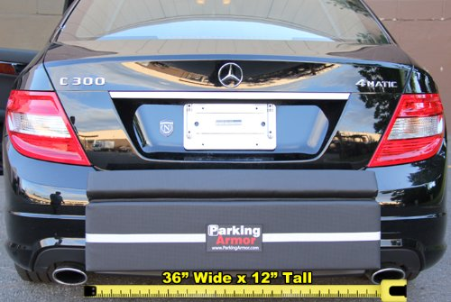 PARKING ARMOR 3.6 – (36″ Wide x 12″ Tall) Indoor/ Outdoor Ultimate Rear Bumper Protector, Steel Reinforced Straps, Widest Bumper Protection, Thickest Bumper Guard, STEEL REINFORCED STRAPS PREVENT THEFT !