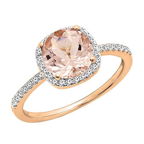Dazzlingrock Collection 10K Round Cut Morganite & White Diamond Halo Bridal Engagement Ring, Rose Gold, Size 7