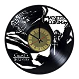 Winter Is Coming House Stark Vinyl Wall Clock Game of Thrones Unique Gifts Living Room Home Decor