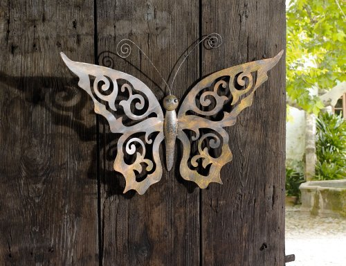 Metal Butterfly Wall Decor - Black Metal Butterfly Wall Art with Ornate Wings Product SKU: HD229084