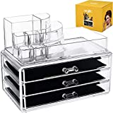 teenage girl room Acrylic Makeup Cosmetic Storage Organizer - 3 case drawer with 8 slot organizers for brush palette lipstick pens make up nailpolish lotion and creams! Countertop box tray drawers for vanity or bedroom