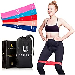 Upperlux Premium Resistance Exercise Loop Bands - Set of 5 with Carry Bag - Gym Strength Training, Home Workout and Physical Therapy