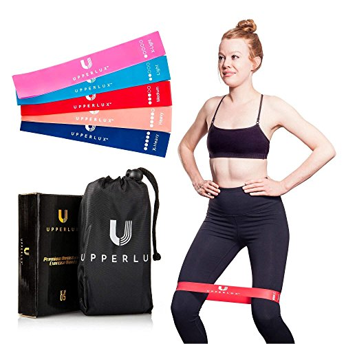 Upperlux Premium Resistance Exercise Loop Bands - Set of 5 Carry Bag - Gym Strength Training, Home Workout Physical Therapy by Upperlux