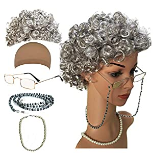 Old Lady Cosplay Set – Grandmother Wig, Wig Cap,Madea Granny Glasses, Eyeglass Chains Cords Strap, Pearl Beads
