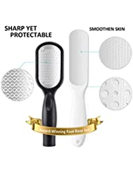 ieleacc 2PCS Foot File, Upgrade Stainless Steel Foot File & Dual-Sided Callus Remover Foot Rasp Scrubber - Remove Cracked Dead Skin for Smooth Soft Foot - Professional Salon Quality, Black+White Set
