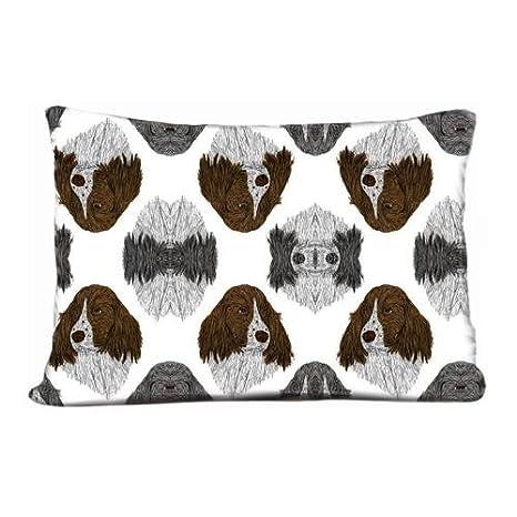 Nuevo DIY diseño funda de almohada de perro Bulldog Inglés Bulldogs color blanco, tejido tela