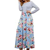 Women's Floral Print Casual Long Sleeve A-line Loose T-Shirt Long Maxi Dresses (Sky Blue, US:6)
