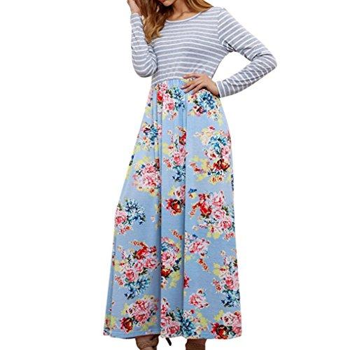 Women's Floral Print Casual Long Sleeve A-line Loose T-Shirt Long Maxi Dresses (Sky Blue, US:6) by Kinrui