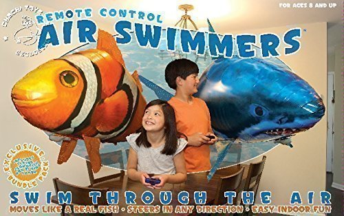 (Air Swimmers Remote Control Flying Shark & Clownfish Official)
