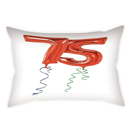 Cotton Linen Throw Pillow Cushion Cover75th Birthday DecorationsNumber Balloons In Red With