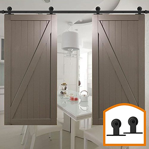 HomeDeco Hardware Antique Style Modern DIY Top Mounted Sliding National Barn Door Hardware Rollers Tracks Set for Double Doors (16FT Double Doors Kit) by HomeDeco Hardware