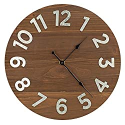 12 Frameless Rustic Walnut Wood Plank Wall Clock with Galvanized Metal Numbers
