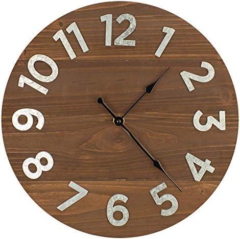 12″ Frameless Rustic Walnut Wood Plank Wall Clock
