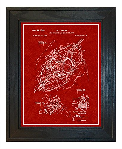 Retaining Retractors Self (Self-retaining Abdominal Retractor Patent Art Burgundy Red Print with a Border in a Solid Pine Wood Frame (13