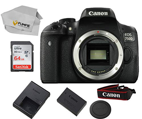 Canon EOS 750D (Rebel T6i) Body Only Includes Free SanDisk Ultra 64GB SDHC Class 10 Card (Lens Not Included)
