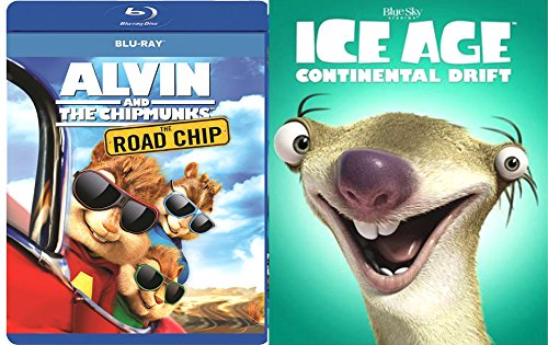 Ice Age: Continental Drift + Alvin & the Chipmunks: The Road Chip Blu Ray Animated Bundle Cartoons movie Set