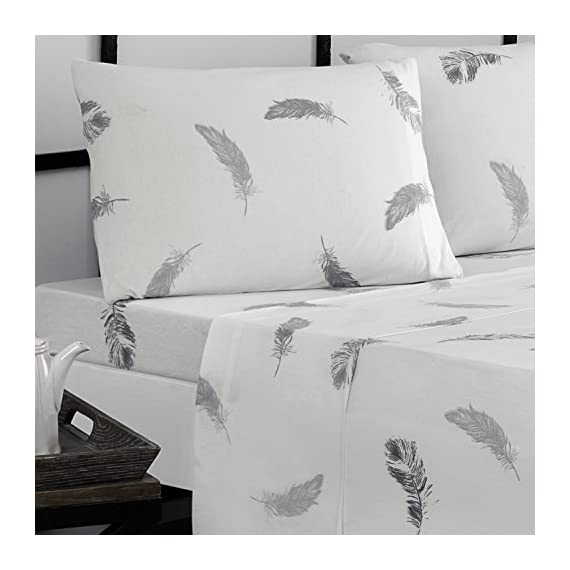 Brielle Fashion Jersey Sheet Set, Cal-King, Feathers - Jersey knitted (t-shirt); single-ply yarns; imported Cal-King sheet set includes flat sheet, fitted sheet, and 2 pillow cases 108-By-102 inch flat sheet, 72-by-84 inch fitted sheet, 20-by-40 inch King pillow cases - sheet-sets, bedroom-sheets-comforters, bedroom - 51DOz1UwevL. SS570  -