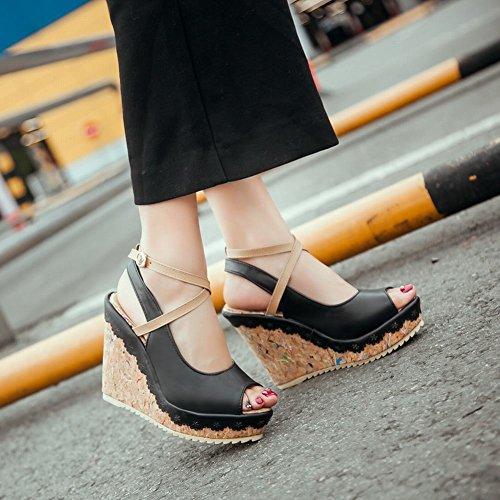 Carolbar Womens Boucle Assortiment Couleurs Élégance Peep Toe Slingback Sweet Bordure Décorative Plate-forme Wedges Sandales Noir