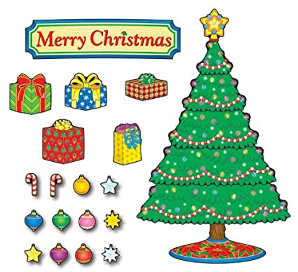 Amazon Com Carson Dellosa Christmas Tree Bulletin Board Set