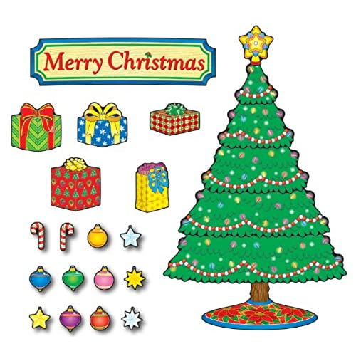 carson dellosa christmas tree bulletin board set 110055