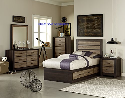 FurnitureMaxx Odin Smoky Brown Oak & Weathered Grey Birch Color Engineer Wood products Twin Captain Bed, Dresser, Mirror, (Oak Captains Bed)