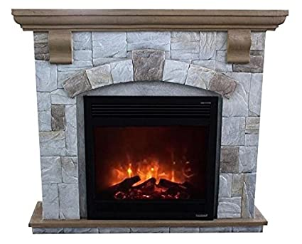 Super Flamex Freestanding Stone Finish Electric Fireplace Heater With Mantel Grey Interior Design Ideas Tzicisoteloinfo