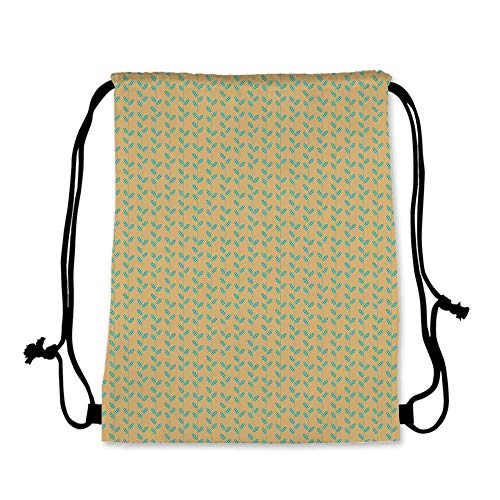 (Nature Practical Drawstring Bag,Vertical Thin Lines with Striped Spring Leaves Pattern Brown Background for Women,17.7''L x 36''W)