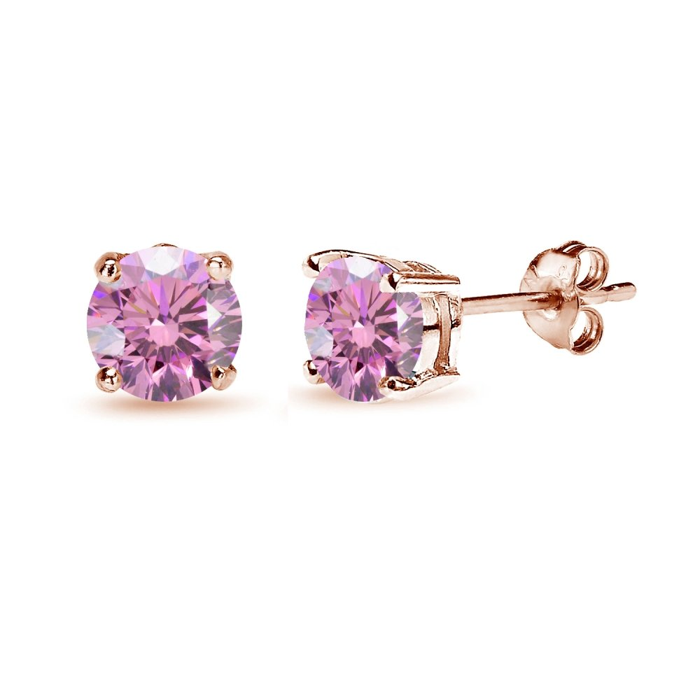 Rose Gold Flashed Sterling Silver 6mm Light Rose Round Solitaire Stud Earrings Made with Swarovski Crystals