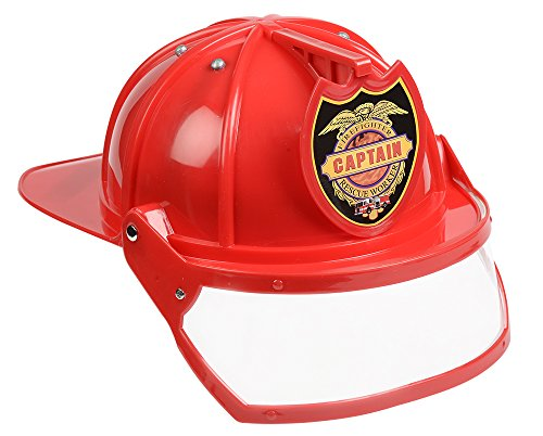 Aeromax Firefighter Helmet with Movable Visor, RED, Adjustable Size
