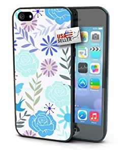 Flower and Butterfly Design Black Plastic Cover Case for iphone 5c or 5s