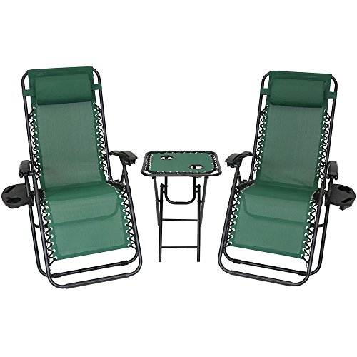 Sunnydaze Zero Gravity Reclining Lounge Chairs with Pillows, Cup Holders and Matching Table with Built-in Drink Holders, Set of 2 Chairs and 1 Side Table, Forest Green