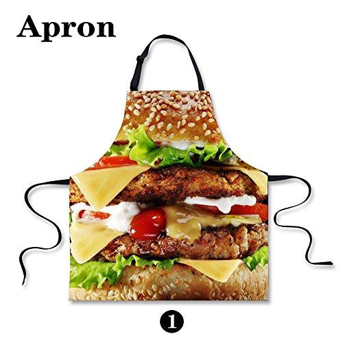 Horeset Apron Animal Print Adult Women Unisex Durable Comfortable Washable for Cooking Baking Kitchen Restaurant Crafting (Hamburger) ()