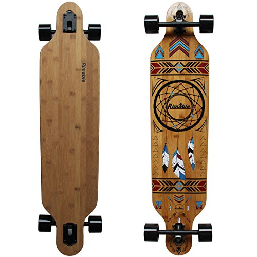 RIMABLE 100% Bamboo Deck Drop Through Longboard, Dream Catcher, 41inch