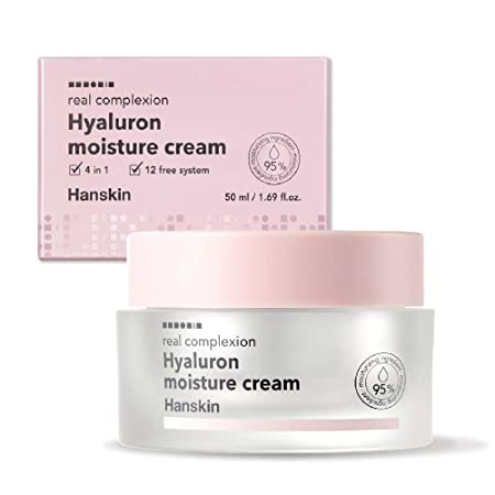 Hanskin Real Complexion Hyaluronic Moisture Cream – Hyaluron Acid, Moisturizing, Glowing, Soft Fragrance-Free. Hanskin Official 50g