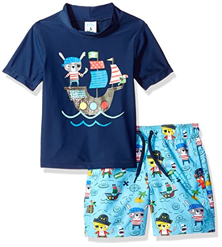 Kiko & Max Boys' Set With Short Sleeve Rashguard Swim Shirt
