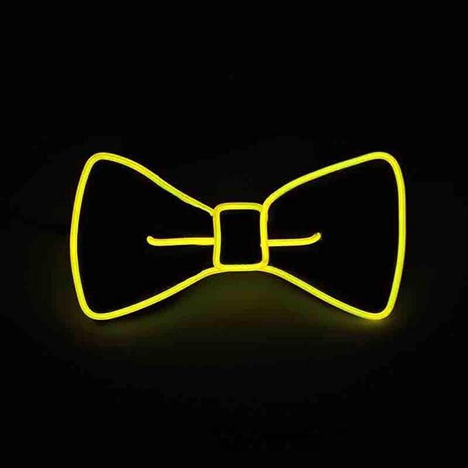 Pajarita luminosa neón con luces led de color amarillo