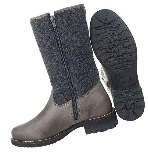 Damen Schuhe Stiefel Used Optik Boots Grau