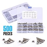 500 Pcs M3 M4 M5 Stainless Steel Button Head Hex Socket Screws Set Metric Nuts and Bolts Assortment Kit