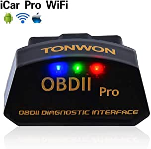 TONWON Car WiFi OBD 2, OBD2 Car Code Reader Scan Tool Scanner Adapter Check Engine Light Diagnostic Tool for iOS & Android