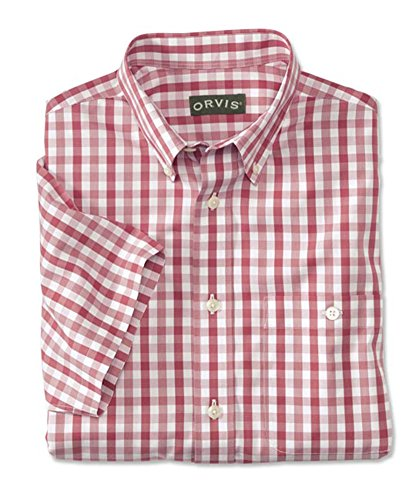 Orvis Men's Wrinkle-Free Pure Cotton Pinpoint Oxford Short-Sleeved Shirt/Regular, Weathered Red, Medium