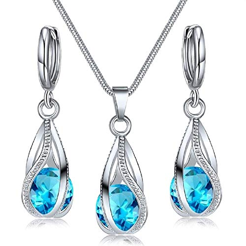 Maylena Belle 18k White Gold Plated Silver Ocean Aquamarine Blue Crystal Water Drop Cage Pendant Necklace and Earrings Set