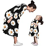 Winsummer Family Clothes Outfits Mommy and Me Maxi Dress Parent-Child Shirt Dress Mom and Daughter Floral Print Dress