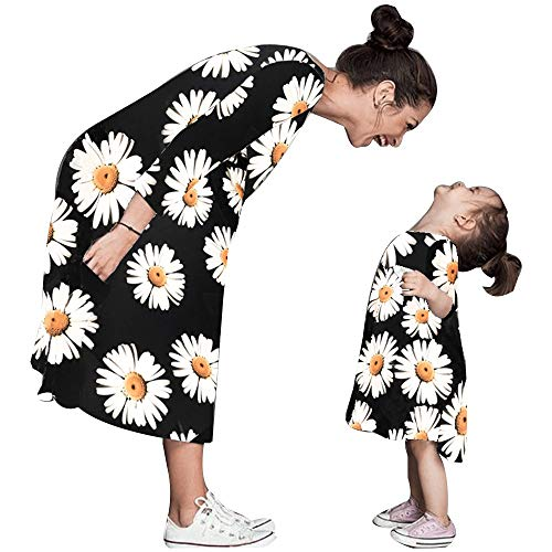 Tronet Parent-Child Dress, Mommy Daughter Sun Flower Print Tops Skirt Lady Family Matching Clothes (Black, L) -