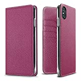 BONAVENTURA Diary Leather Wallet iPhone Case [Compatible with iPhone Xs Max, Anemone Purple]