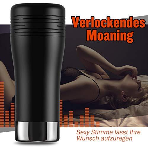 Elektrischer Masturbator Cup Automatischer Masturbieren Mann Realistische Vagina 3D Strucktur Manuelle Cup-Masturbatoren mit Sexy Stimme Sexspielzeug für Männer Erotik mit 10 Vibrationsmodi