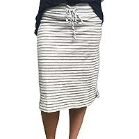 Hot Sale! Women Casual Striped Elastic Midi Pencil Skirt High Waist Knee Length Bodycon Skirt Tie Waist