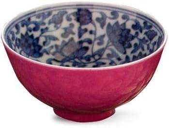 QM ティーカップ、手作りセラミックルージュレッド、青と白のティーカップ、55ミリリットルの手描きカップ、マスターカップシングルカップ (Color : Blue/Red)